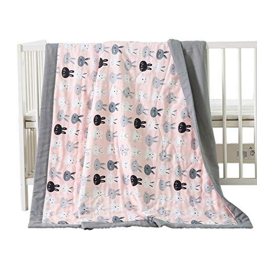 NIUXUAN Manta para cama de bebé, 100% algodón, doble capa, manta de muselina, antialérgica, ligera, manta para carriola de bebé, manta suave para bebé, manta para cuna de bebé (119,4 x 59,9 cm), conejito