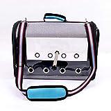 Bolsa de viaje para pájaros, portátil para mascotas, pájaros, loros, jaula de viaje transparente y transpirable, ligero para pájaros y pequeños animales, bolsa multifuncional para mascotas (Blue)