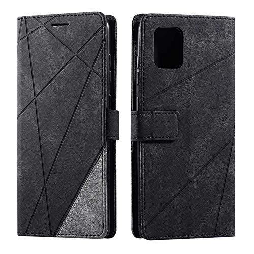 Hülle für Samsung Galaxy Note 10 Lite, SONWO Premium Leder PU Handyhülle Flip Hülle Wallet Silikon Bumper Schutzhülle Klapphülle für Galaxy Note 10 Lite, Schwarz