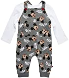 Disney Baby Boys Mickey Mouse 2PC Overall Set - Fleece Romper & Long Sleeve T-Shirt (Newborn/Infant), Size 24M, Dark Grey/Plain White