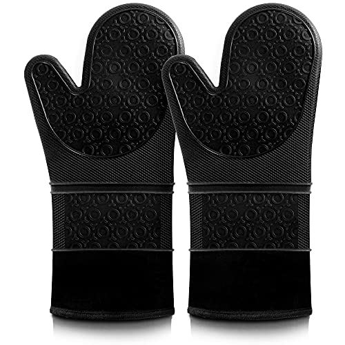 Oven Mitts, VEHHE Extra Long Silicone Oven Mitt Heat Resistant 500°F, Food Safe Baking Gloves with...