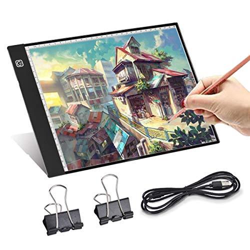Queta LED Zeichenbrett, A4 Led leuchttisch, Zeichenbrett mit dreistufiger Helligkeitsregelung, mit USB-Kabel, sehr geeignet zum Entwerfen, Zeichnen, Zeichnen und Skizzieren von Animationen.