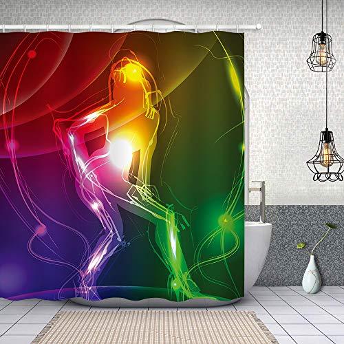 SDDSER YLHXSD215-60 Duschvorhang, Motiv Sexy Mädchen, Neon-Musik, bunt, Badewannen-Dekoration, wasserdicht, 152,4 x 182,9 cm, mit 10 Haken