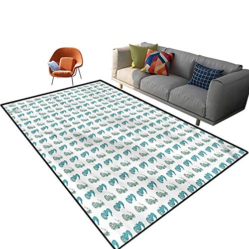 Indoor Room Sea Horse Area Rugs,3'x 5',Two Standing Face to Face Floor Rectangle Rug with Non Slip Backing for Entryway Living Room Bedroom Kids Nursery Sofa Home Decor