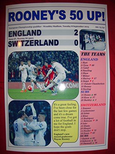 England 2 Schweiz 0, zum 50. Geburtstag, Motiv Wayne Rooney Tor - 2015-souvenir,