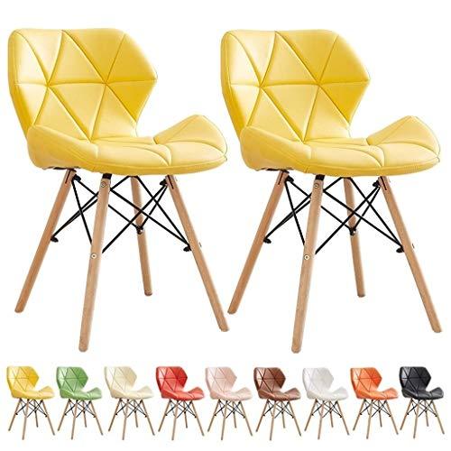 zyy Küchenstühle aus PU-Leder, Esszimmerstühle, Holzbeine und bequemer gepolsterter Sitz, für Zuhause, Büro,...