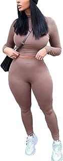 Carolilly 2 Pezzi Completo da Donna Casual Tuta Donna Aderende Sexy Maglietta Manica Lunga a Collo Alto+ Pantaloni Tuta Sp...