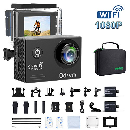 Action Camera HD 1080P Underwater Sports Camera Waterproof Camera Full Camcorder with 2 x 1050mAh Batteries and Outdoor Accessories Kits for Bike, Helmet, Underwater