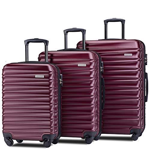 Merax Afuture Luggage Set Hardside Lightweight Spinner Suitcase 20' 24' 28' (Red2019)