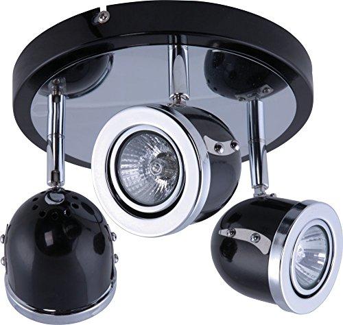 Heitronic Strahler RETRO 3-flammig schwarz für LED oder Halogen Lampen GU10