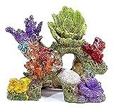 LXESWM Accesorios de Acuario Coral Aquarium Decoración de acuarios Peces Tanque de Resina Roca Montaña Cueva Adornos Betta Fish House for el Descanso del sueño Ocultar Play (Color : Color B)