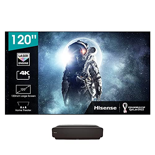 "Hisense 120"" Laser TV 4K 2021 120L5F-A12, Schermo anti-riflesso ALR e installazione inclusi, 2700 lumen, HDR10, Smart TV VIDAA 4.0, Dolby Atmos, Alexa Integrata, DVB-T2/S2 HEVC 10, tivùsat 4K"