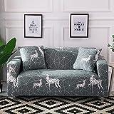 MKQB Funda de sofá de Sala de Estar, Funda de sofá de combinación geométrica elástica, Funda de sofá de Esquina Impresa, Antideslizante y Lavable NO.10 3seat-L- (190-230cm