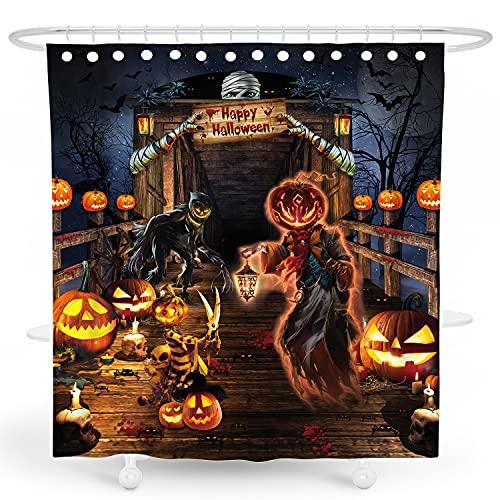 DESIHOM Gruseliger Halloween-Duschvorhang Horror Kürbis Duschvorhang Urlaub Duschvorhänge für Badezimmer 183 x 183 cm