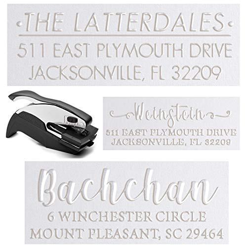 "15+ Embosser Designs Personalized Custom Address Embosser Seal Desk Handheld Wedding Invitation Seal Embosser Personalized Customized 2"" x 1"" (Rectangle Embosser3)"