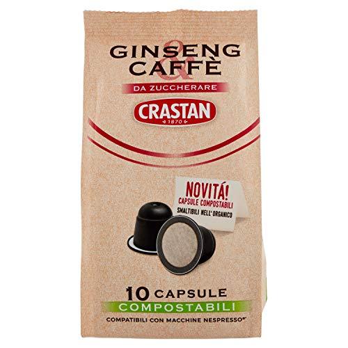 Crastan Capsule Compostabili Compatibili Nespresso - Ginseng & Caffè da Zuccherare - 10 Capsule