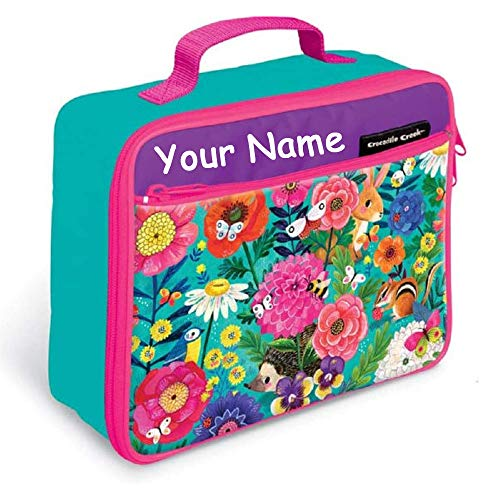 Personalized Crocodile Creek Floral Garden Lunchbox Lunch Bag Tote for Back to School with Custom Name