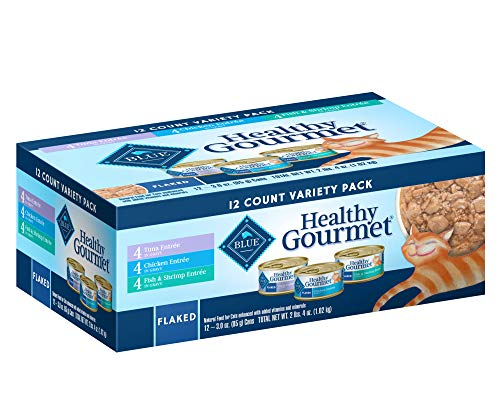 Blue Buffalo Healthy Gourmet Natural Adult Flaked Wet Cat Food Variety Pack Tuna, Chicken, Fish & Shrimp 3-oz cans (12 count- 4 of each flavor)