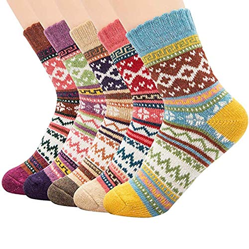 Century Star Women's Vintage Winter Soft Wool Warm Comfort Cozy Crew Socks 5 Pack 5 Pack Diamond2