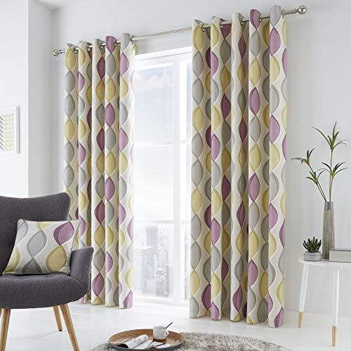 Cortinas amarillas y grises 100% algodón 117x137 cm