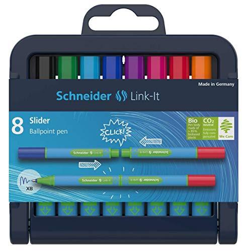 Schneider 4004675122605 - Penna a sfera Link-It Slider, tratto: XB, facile da assemblare e combinare, 8 pezzi, colori assortiti