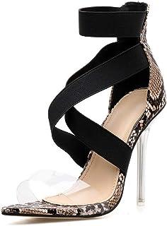 6a52d87942a Lindarry Sandalias de tacón de Aguja para Mujer Zapatos de tacón Alto  Patrón de Serpiente Piel