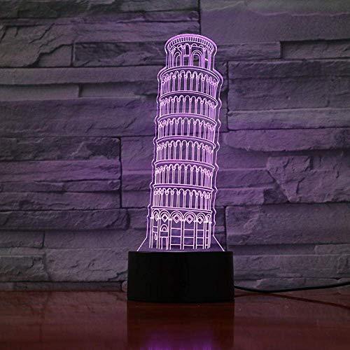 3D magische Lichter LED Nachtlicht Schiefe Turm von Pisa einzigartige Tischlampe für Kinder die besten Geburtstagsgeschenke