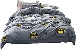 Papa&Mima Batman Fashion Cartoon Style Duvet Cover Set Pillow Cases 500TC Soft Cotton Print Fabric King Fitted Sheet 4pcs 200x230cm Bedding Sets