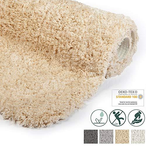 Beautissu Badematte rutschfest BeauMare FL Hochflor Teppich 120x70 cm Natur - WC Badteppich Flauschige Bodenmatte oder Badvorleger für Dusche, Badewanne und Toilette - für Fußbodenheizung geeignet
