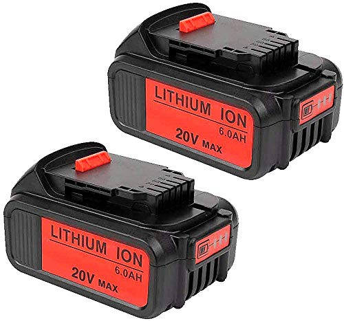 2Pack DCB200 20V MAX 6.0Ah Lithium Ion Replacement Battery Compatible with Dewalt Battery DCB200 DCB204 DCB205 DCB206 DCB205-2 DCB201 DCB203 DCB181 DCB180 20V DCD/DCF/DCG/DCS Series