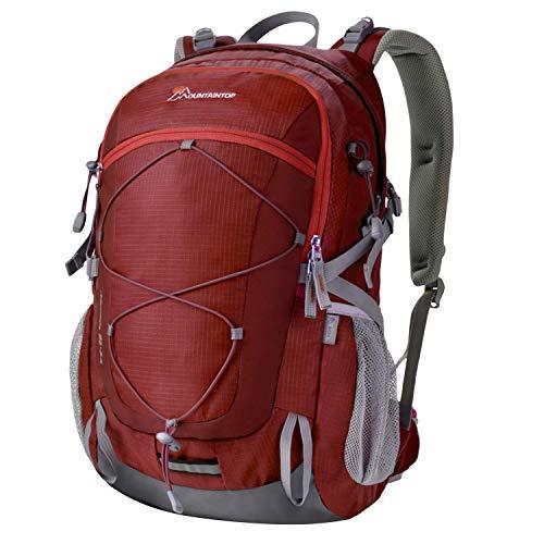 MOUNTAINTOP 40 Litri Zaino Trekking Outdoor Multifunzione Zaino per Uomo Donna da Escursionismo Campeggio Viaggio Zaini con Copertura della Pioggia, Rosso Granato
