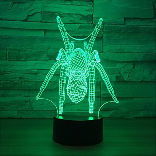 SLJZD luz de noche Lámpara De Noche Usb 3D Con Diseño De Araña, Colorida Para Decoración De Bodas, Lámpara De Mesa Led De 7 Colores, Regalo Creativo Para Niño Con Control Remoto