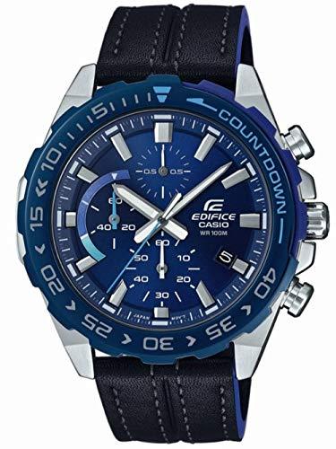 Casio Mens Chronographe Quartz Montre avec Bracelet en Cuir EFR-566BL-2AVUEF