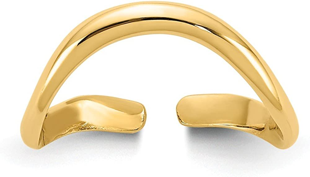 Solid 14k Yellow Gold Polished Toe Ring (2mm)