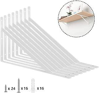 Heavy Duty Shelf Bracket, ORIGA 12 x 8 Inch Shelf L Brackets 90 Degree Shelf Support Corner Brace Joint Right Angle Brackets with 40pcs Screw and16pcs Anchors, 8-Pack, White