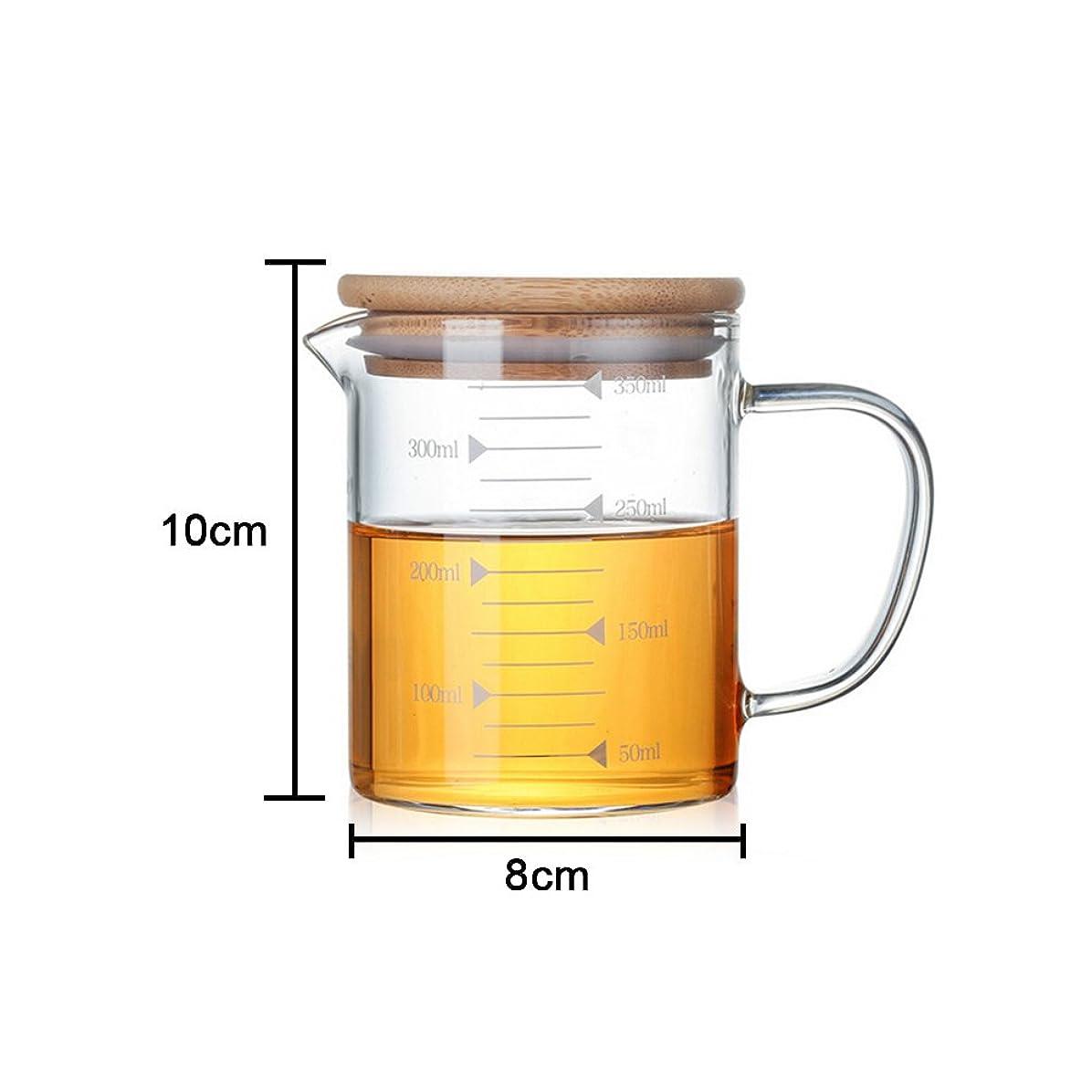 夕食を食べる生む秋AWHAO メジャーカップ ガラス計量カップ フタ付き 耐熱 スケールカップ ガラスカップ (S:350ml)
