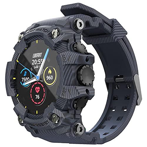 MERIGLARE Reloj Inteligente Compatible para Teléfonos Android IP68 a Prueba de Agua, Relojes para Hombres, Mujeres, Reloj Inteligente, Rastreador de Eje - Azul