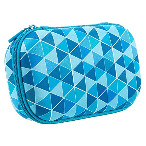 ZIPIT Colorz Large Pencil Box for Boys, Holds Up to 60 Pens, Sturdy Storage Container for School and Office Supplies, Secure Zipper Closure (Blue Triangles)
