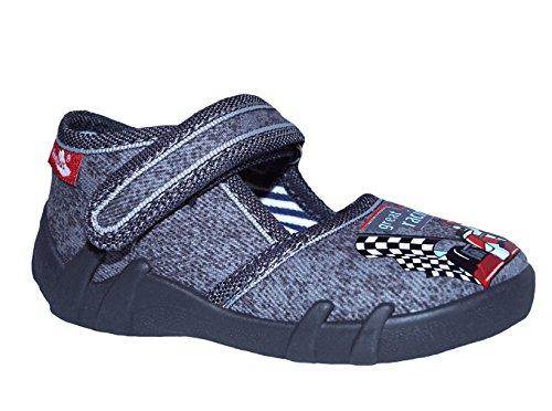 Generic Renbut Baby Jungen Hausschuhe Freizeitschuhe Grau Rennauto Klettverschluss Einlegesohlen Leder Schuhgröße EUR 19