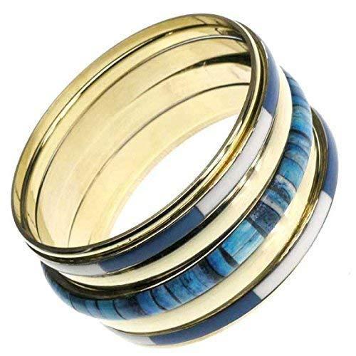 Armreif-Set in gold, weiß, türkis, petrol, 7-teilig