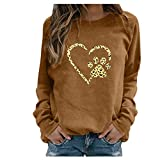 Dosoop Womens Dog Paw Print Heart Graphic Shirts Long Sleeve Dog Mom Tunic Tops Casual Sweatshirts Blouse Pullover