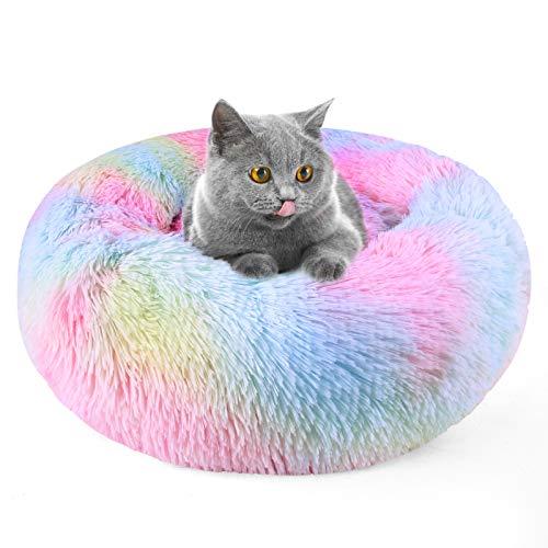 DADYPET Katzenbett, Hundebett, Haustierbett, Einhornbettchen, in 4 Größen, Regenbogenfarbe, warm, kuschelig und flauschig, waschbar M