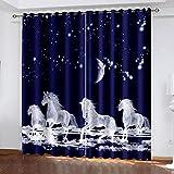 XKSJWY Cortinas Salon Dormitorio Moderno 2 Piezas 3D Arte del Caballo Azul Y Blanco Patrón Cortinas Ventana Opacas Termicas Aislantes Frio Y Calor, Cortinas Habitacion Juvenil con Ojales 280X260Cm