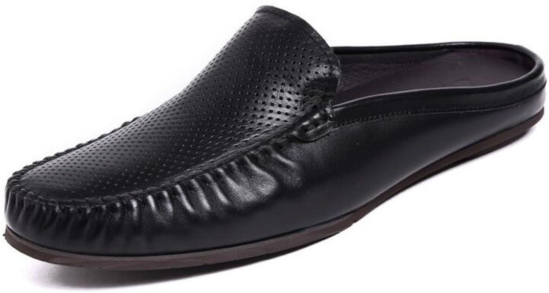 SHIXRAN Mnner Leder Flats Schuhe Hausschuhe Sommer Hollow Breathable Pantoffeln Tglich Casual Japanischen Pantoffeln Wei Schwarz Blau