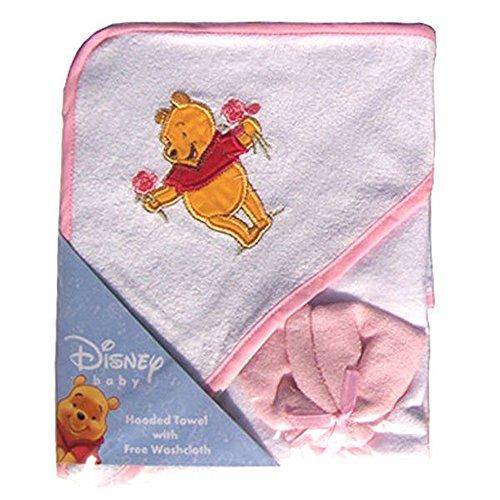 Disney Winnie l'ourson Serviette à capuche et gants de toilette Rose