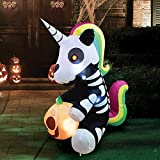 Joiedomi 5 FT Tall Halloween Inflatable Sitting Skeleton Unicorn Inflatable Yard Decoration with Build-in LEDs Blow Up Inflatables for Halloween Party Indoor, Outdoor, Yard, Garden, Lawn Decorations