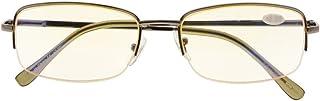 Anti Blue Rays,Reduce Eyestrain,Metal Frame Half-rim Computer Reading Glasses