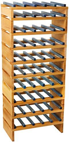 Expovinalia Stapelbarer Flaschenständer für 50 Flaschen, Helle Eiche, 49 x 32 x 100 cm