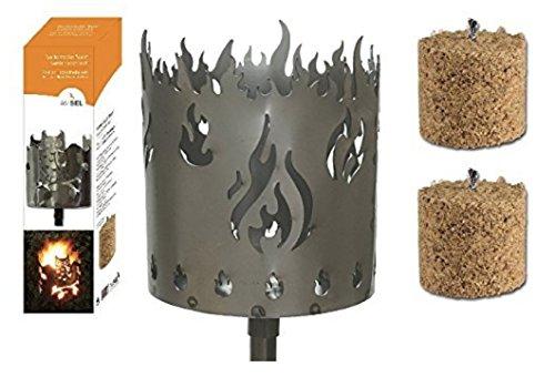 Gartenfackel auf Stecker 'Feuer', aus Metall, Höhe: 128 cm , Ø 15cm, INKL. 2 Holzbrennelementen Garten Sommer Fackel Windlicht