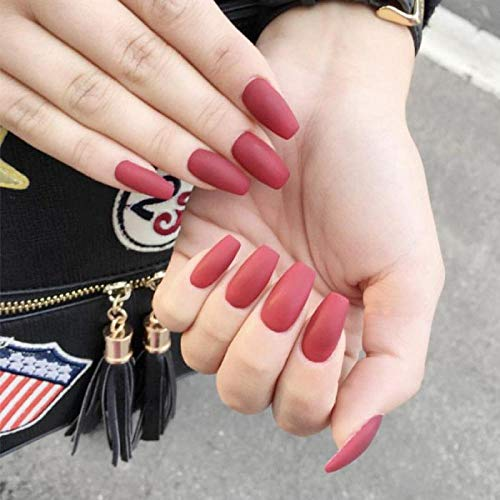 TJJF 24 Pcs/Boîte Rouge Gommage Moyenne Longueur Faux Ongles Avec De La Colle De Mode Pure Couleur Faux Ongles es Femmes Manucure Acrylique Nail Produits